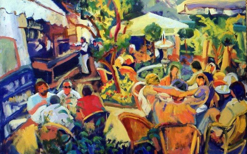 516-Cafe alrededor de la fuente